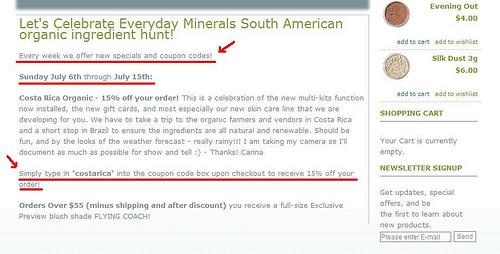 Dica de desconto na Everyday Minerals (obrigada, Dani - Teresópolis/RJ)