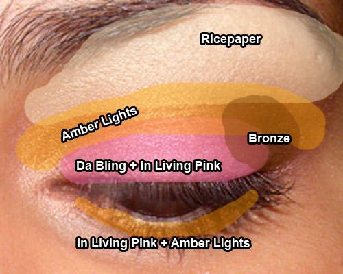 Look: In Living Pink & Amber Lights (MAC)