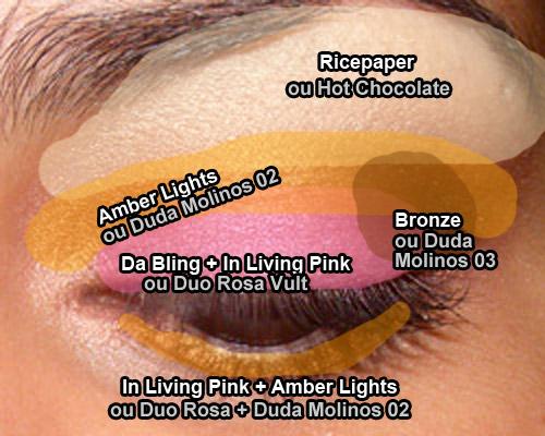Look Econômico: Cópia de In Living Pink & Amber Lights da MAC, com makes mais amigávei$$$