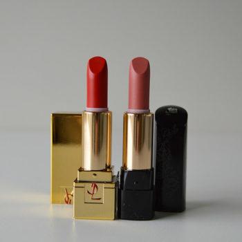 Boca Colorida: YSL Rouge Pur Couture #01 Le Rouge e Lancôme L'Absolu Nu #201