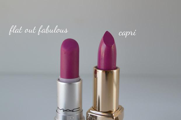 Comparação: Flat Out Fabulous MAC x Capri Tracta