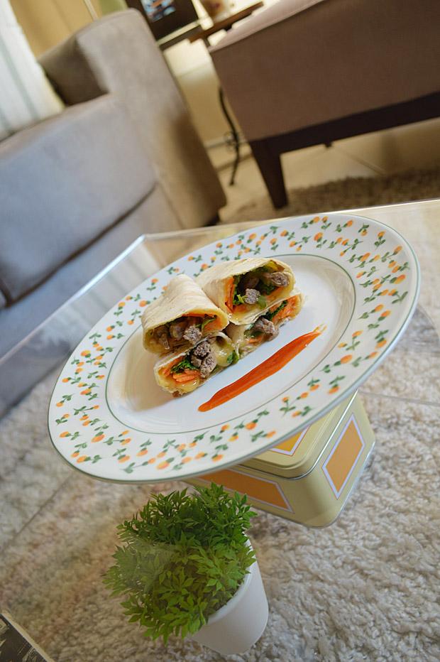 Cozinha Tosca de Marina: Enroladinho de Rap10 Com Carne Picada