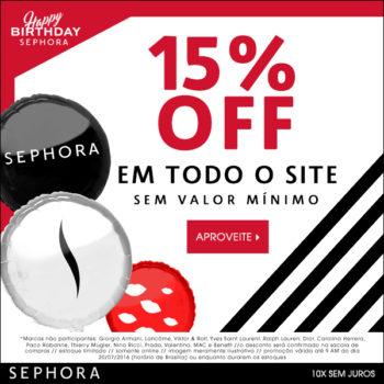 Aniversário Sephora com 15% OFF no site! *