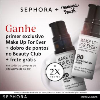 Promo Make Up For Ever no site da Sephora *