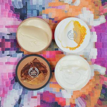 Manteiga Corporal The Body Shop: Cocoa Butter e Leite de Amêndoas e Mel