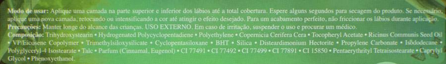 Ingredientes dos batons Elfa e Ninfa da Coleção Bosque das Fadas em versão líquida