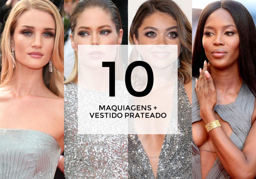 10 maquiagens para combinar com vestido prateado