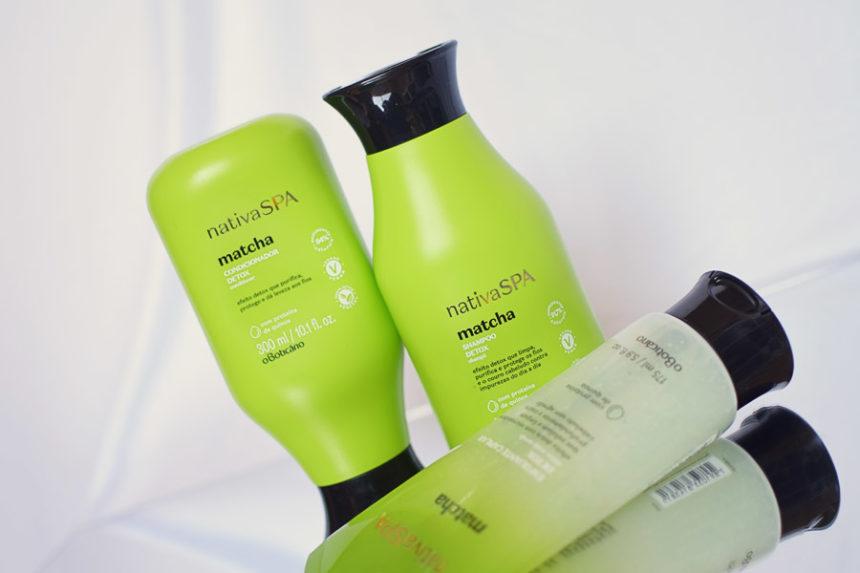Shampoo, condicionador e esfoliante Nativa Spa Matcha